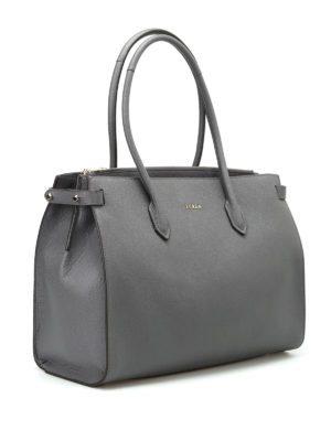 Furla: totes bags online - Pin M grainy leather tote