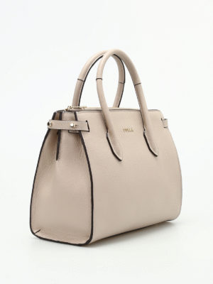 Furla: totes bags online - Pin S beige grainy leather tote