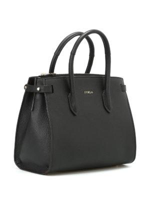 Furla: totes bags online - Pin S black grain leather tote