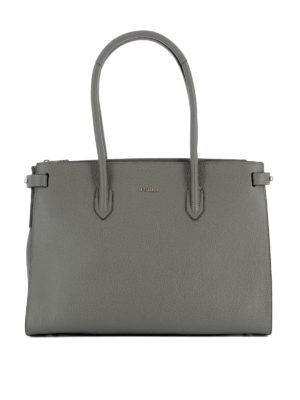 Furla: totes bags - Pin grey leather medium tote