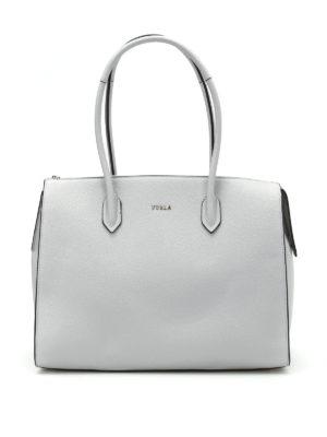 Furla: totes bags - Pin L grey leather bowling bag