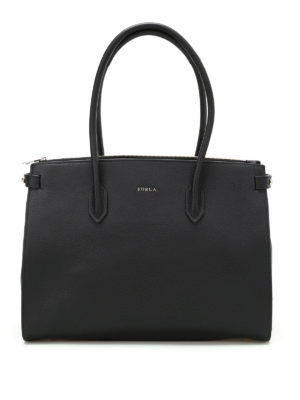 Furla: totes bags - Pin M black grainy leather tote