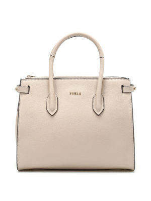 Furla: totes bags - Pin S beige grainy leather tote