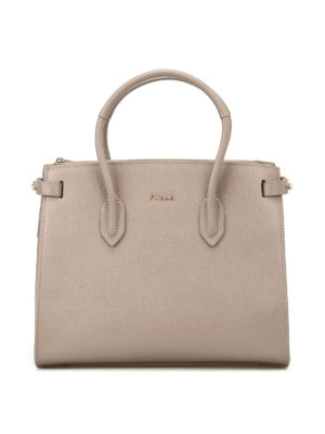 FURLA: shopper - Shopper Pin S in saffiano beige