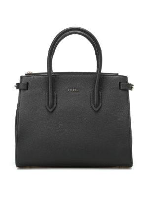 Furla: totes bags - Pin S black grain leather tote
