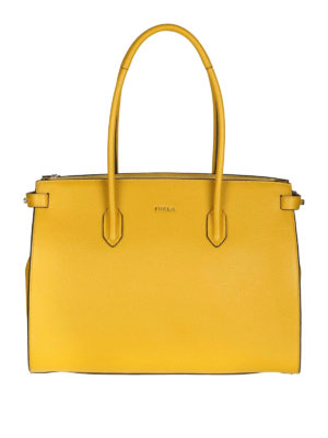 FURLA: shopper - Shopper media Pin in pelle color senape