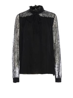 Giambattista Valli: bluse - Blusa nera in chiffon di seta e pizzo