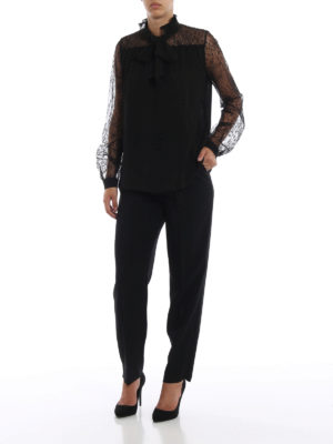 Giambattista Valli: bluse online - Blusa nera in chiffon di seta e pizzo