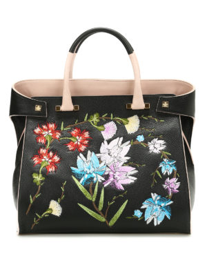 Giancarlo Petriglia: totes bags - Flowers hammered leather bag