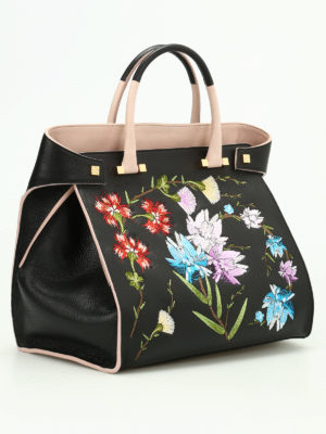 Giancarlo Petriglia: totes bags online - Flowers hammered leather bag