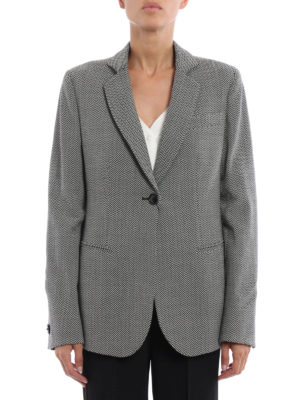 Giorgio Armani: blazers online - Chevron wool one button blazer
