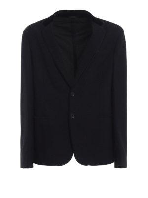 GIORGIO ARMANI: giacche blazer - Blazer operato con dettaglio in velluto