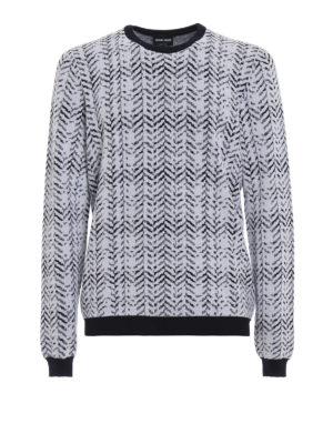 GIORGIO ARMANI: maglia collo rotondo - Maglione in misto lana jacquard