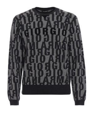 GIORGIO ARMANI: maglia collo rotondo - Maglione in lana con motivo spigato e logo