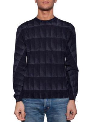 Giorgio Armani: crew necks online - Geometric pattern crew neck sweater