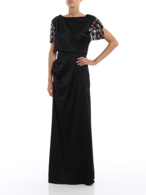 Giorgio Armani: evening dresses online - Embellished sleeve draped gown