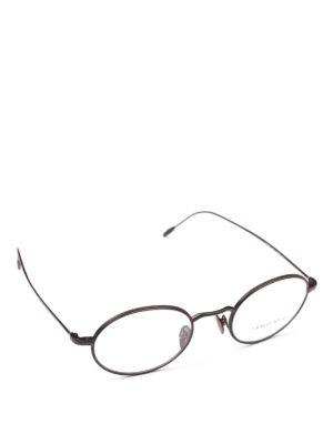 GIORGIO ARMANI: Occhiali - Occhiali da vista ovali in metallo nero