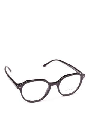 GIORGIO ARMANI: Occhiali - Occhiali da vista neri di forma geometrica