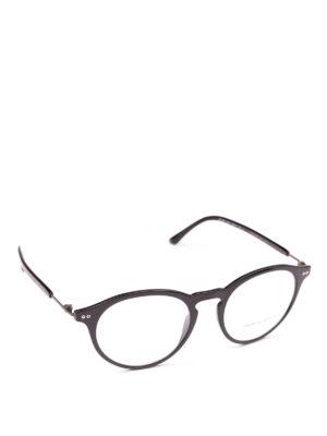 GIORGIO ARMANI: Occhiali - Occhiali da vista forma panto neri lucidi