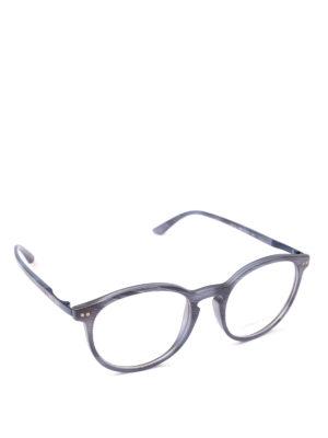 GIORGIO ARMANI: Occhiali - Occhiali da sole in acetato blu opaco rigato