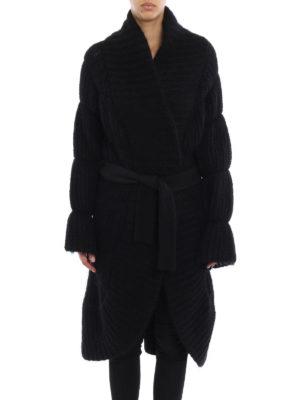 Giorgio Armani: knee length coats online - Rib knitted mohair blend coat