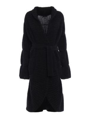 Giorgio Armani: knee length coats - Rib knitted mohair blend coat