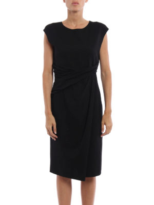 Giorgio Armani: knee length dresses online - Ruched waist sleeveless dress