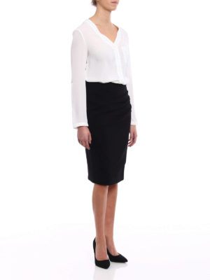 Giorgio Armani: Knee length skirts & Midi online - Draped wool pencil skirt