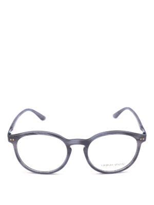 GIORGIO ARMANI: Occhiali online - Occhiali da sole in acetato blu opaco rigato