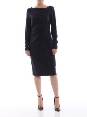 GIORGIO ARMANI: abiti al ginocchio online - Abito in jersey blu nero con drappeggio