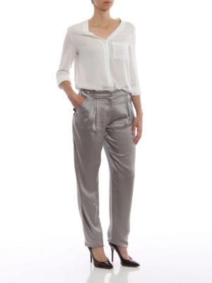 GIORGIO ARMANI: Pantaloni sartoriali online - Pantaloni in raso di seta Mulberry