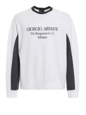 GIORGIO ARMANI: Felpe e maglie - Felpa bianca con ricamo logo a contrasto
