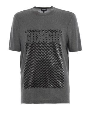 GIORGIO ARMANI: t-shirt - T-shirt in jersey con ricamo in ciniglia