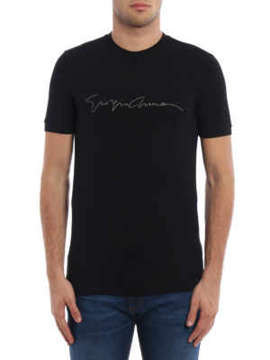 Giorgio Armani: t-shirts online - Brand signature jersey T-shirt