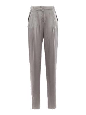 GIORGIO ARMANI: Pantaloni sartoriali - Pantaloni in raso di seta Mulberry