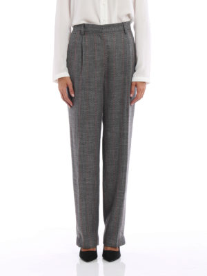 Giorgio Armani: Tailored & Formal trousers online - Patterned wool blend loose trousers