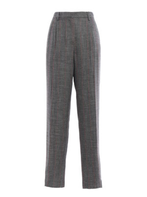 Giorgio Armani: Tailored & Formal trousers - Patterned wool blend loose trousers