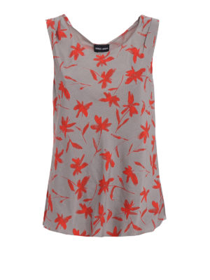Giorgio Armani: Tops & Tank tops - Floral printed cold-dyed crepe top