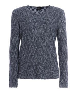 Giorgio Armani: v necks - Argyle jacquard sweater