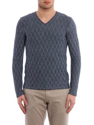Giorgio Armani: v necks online - Argyle jacquard sweater