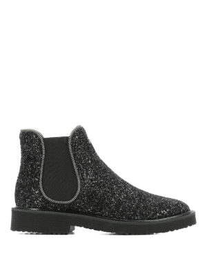 Giuseppe Zanotti: ankle boots - Glitter slip-on ankle boots