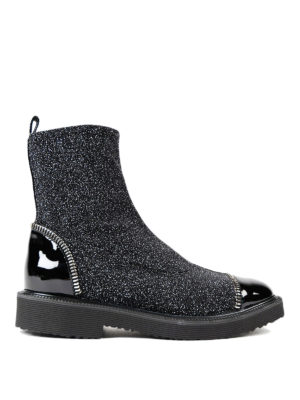 Giuseppe Zanotti: ankle boots - Glittered sock ankle boots