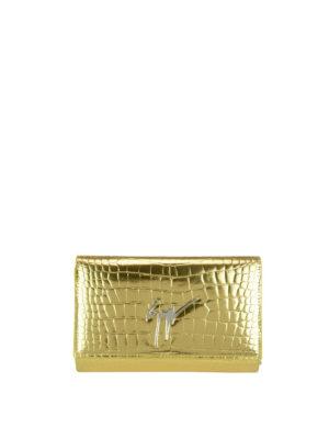Giuseppe Zanotti: clutches - Cleopatra gold croco print clutch
