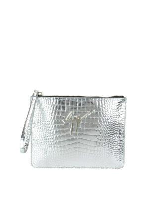 Giuseppe Zanotti: clutches - Croco print mirror leather pouch