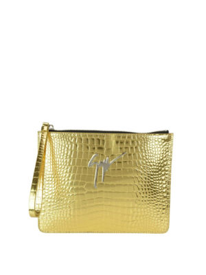 Giuseppe Zanotti: clutches - Gold croco print leather pouch