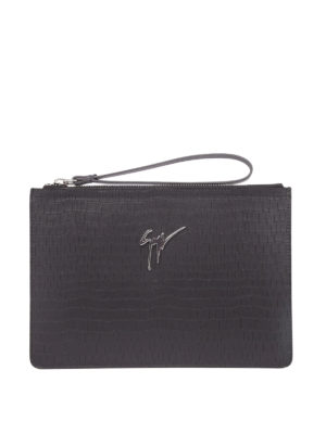 Giuseppe Zanotti: clutches - Marcel croco print leather pouch