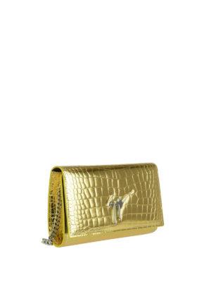 Giuseppe Zanotti: clutches online - Cleopatra gold croco print clutch