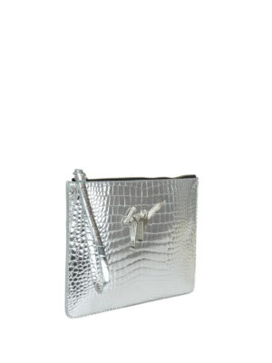Giuseppe Zanotti: clutches online - Croco print mirror leather pouch