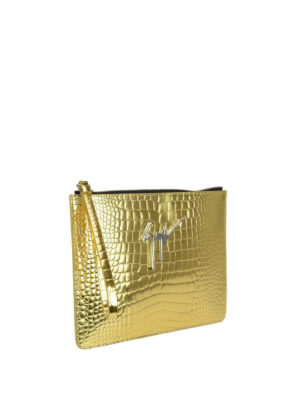 Giuseppe Zanotti: clutches online - Gold croco print leather pouch