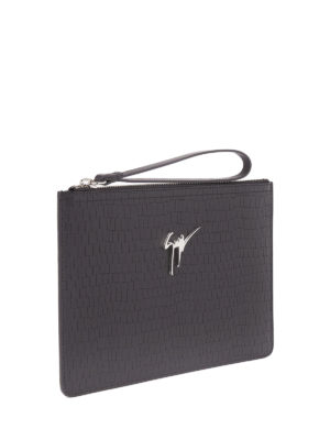 Giuseppe Zanotti: clutches online - Marcel croco print leather pouch